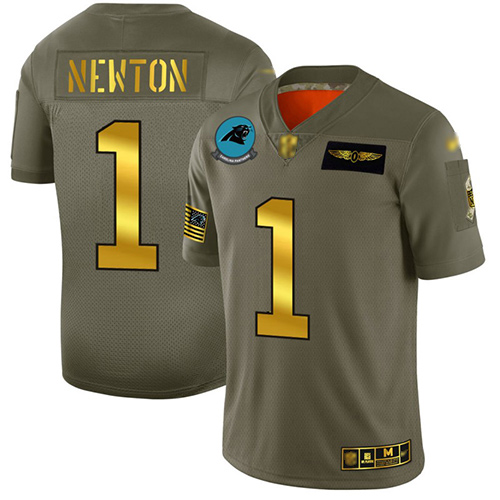 Panthers #1 Cam Newton Camo Gold Men's Stitched Football Limited 2019 Salute To Service Jersey