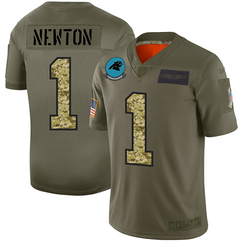 Panthers #1 Cam Newton Olive Camo Men's Stitched Football Limited 2019 Salute To Service Jersey