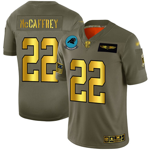 Panthers #22 Christian McCaffrey Camo Gold Men's Stitched Football Limited 2019 Salute To Service Jersey