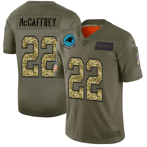 Panthers #22 Christian McCaffrey Olive Camo Men's Stitched Football Limited 2019 Salute To Service Jersey