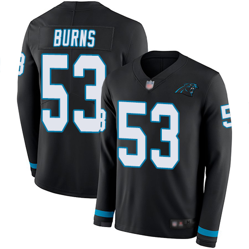 Panthers #53 Brian Burns Black Team Color Men's Stitched Football Limited Therma Long Sleeve Jersey