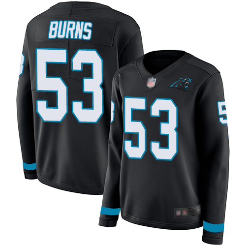 Panthers #53 Brian Burns Black Team Color Women's Stitched Football Limited Therma Long Sleeve Jersey