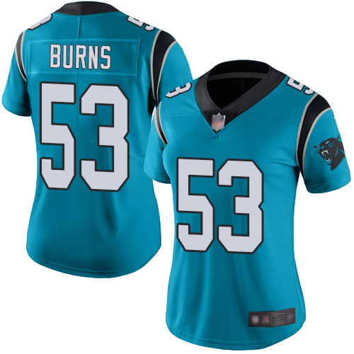 Panthers #53 Brian Burns Blue Alternate Women's Stitched Football Vapor Untouchable Limited Jersey