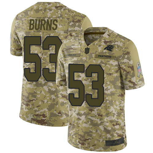 Panthers #53 Brian Burns Camo Men's Stitched Football Limited 2018 Salute To Service Jersey