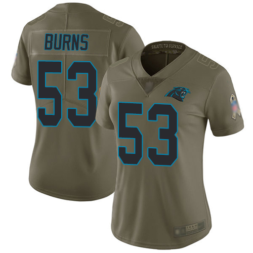 Panthers #53 Brian Burns Olive Women's Stitched Football Limited 2017 Salute to Service Jersey