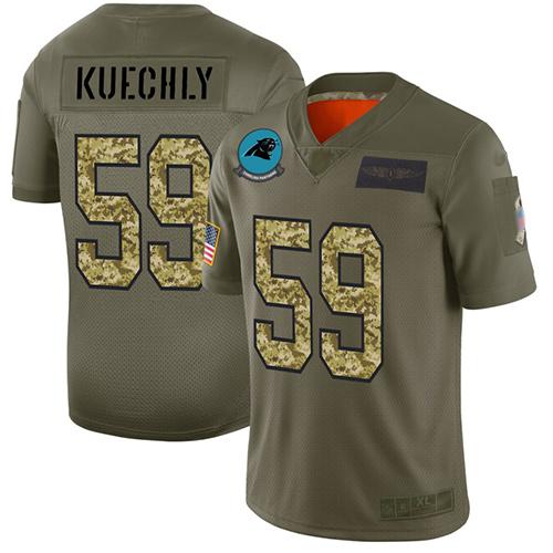 Panthers #59 Luke Kuechly Olive Camo Men's Stitched Football Limited 2019 Salute To Service Jersey