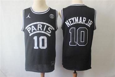 Paris Saint-Germain 10 Neymar Jr Black Jordan Fashion Jersey