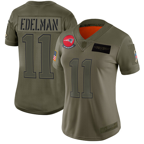 Patriots #11 Julian Edelman Camo Women's Stitched Football Limited 2019 Salute to Service Jersey