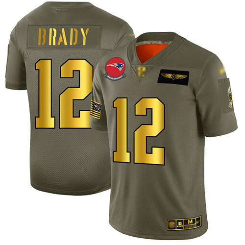 Patriots #12 Tom Brady Camo Gold Men's Stitched Football Limited 2019 Salute To Service Jersey