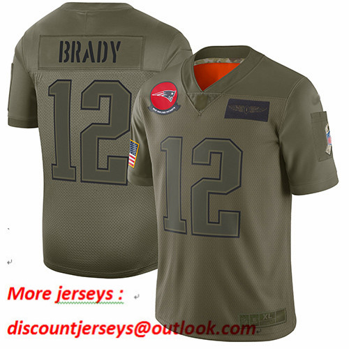 Patriots #12 Tom Brady Camo Youth Stitched Football Limited 2019 Salute to Service Jersey