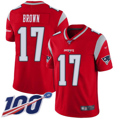 Patriots #17 Antonio Brown Red Men's Stitched Football Limited Inverted Legend 100th Season Jersey