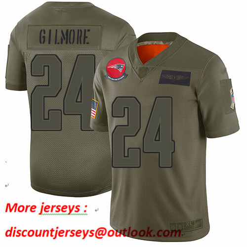 Patriots #24 Stephon Gilmore Camo Youth Stitched Football Limited 2019 Salute to Service Jersey