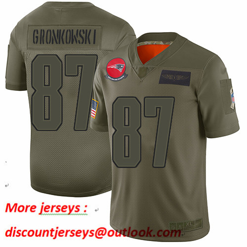 Patriots #87 Rob Gronkowski Camo Youth Stitched Football Limited 2019 Salute to Service Jersey