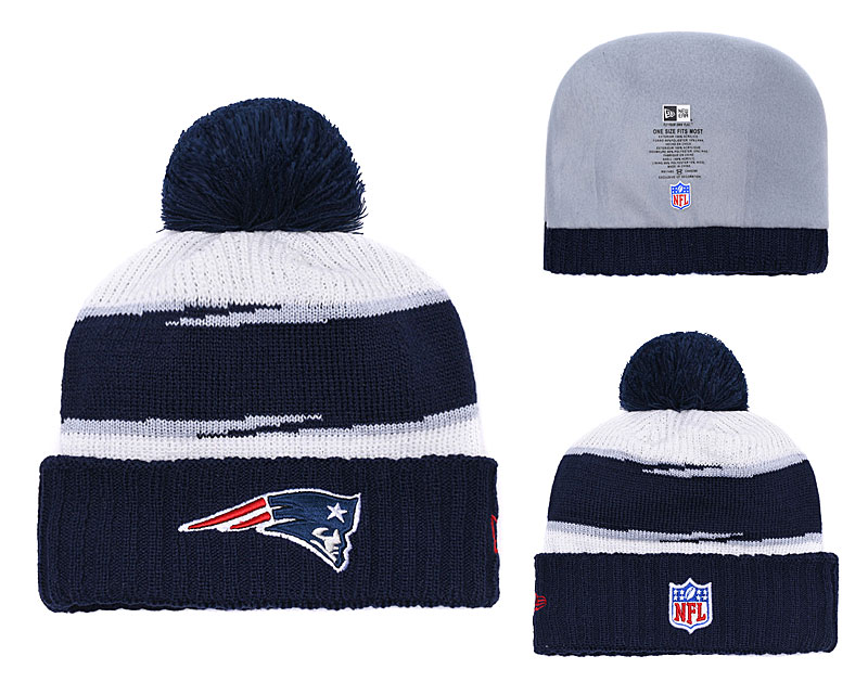 Patriots Team Logo Navy Pom Knit Hat YD