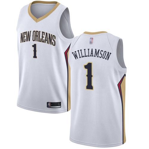 Pelicans #1 Zion Williamson White Basketball Swingman Association Edition Jersey