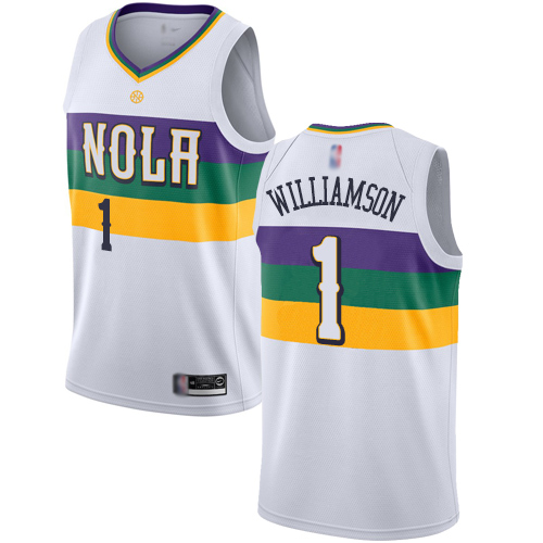Pelicans #1 Zion Williamson White Basketball Swingman City Edition 2018 19 Jersey