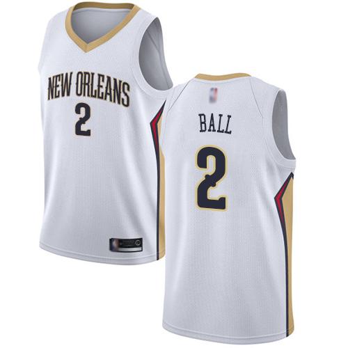 Pelicans #2 Lonzo Ball White Basketball Swingman Association Edition Jersey