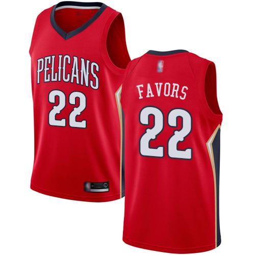 Pelicans #22 Derrick Favors Red Basketball Swingman Statement Edition Jersey