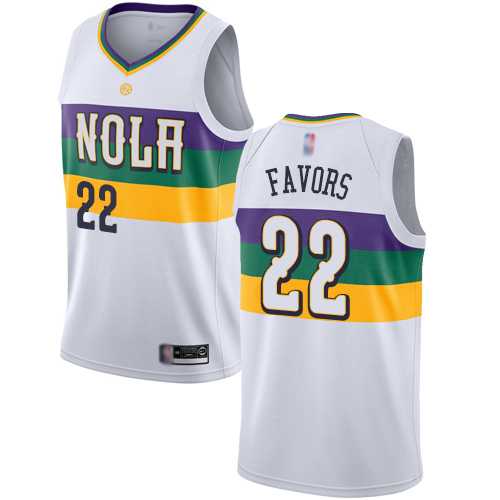 Pelicans #22 Derrick Favors White Basketball Swingman City Edition 2018 19 Jersey