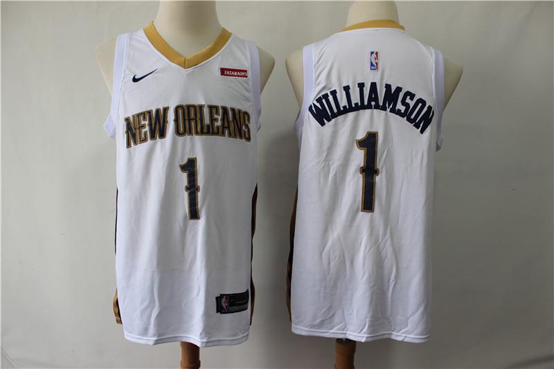Pelicans 1 Zion Williamson White Nike Swingman Jersey