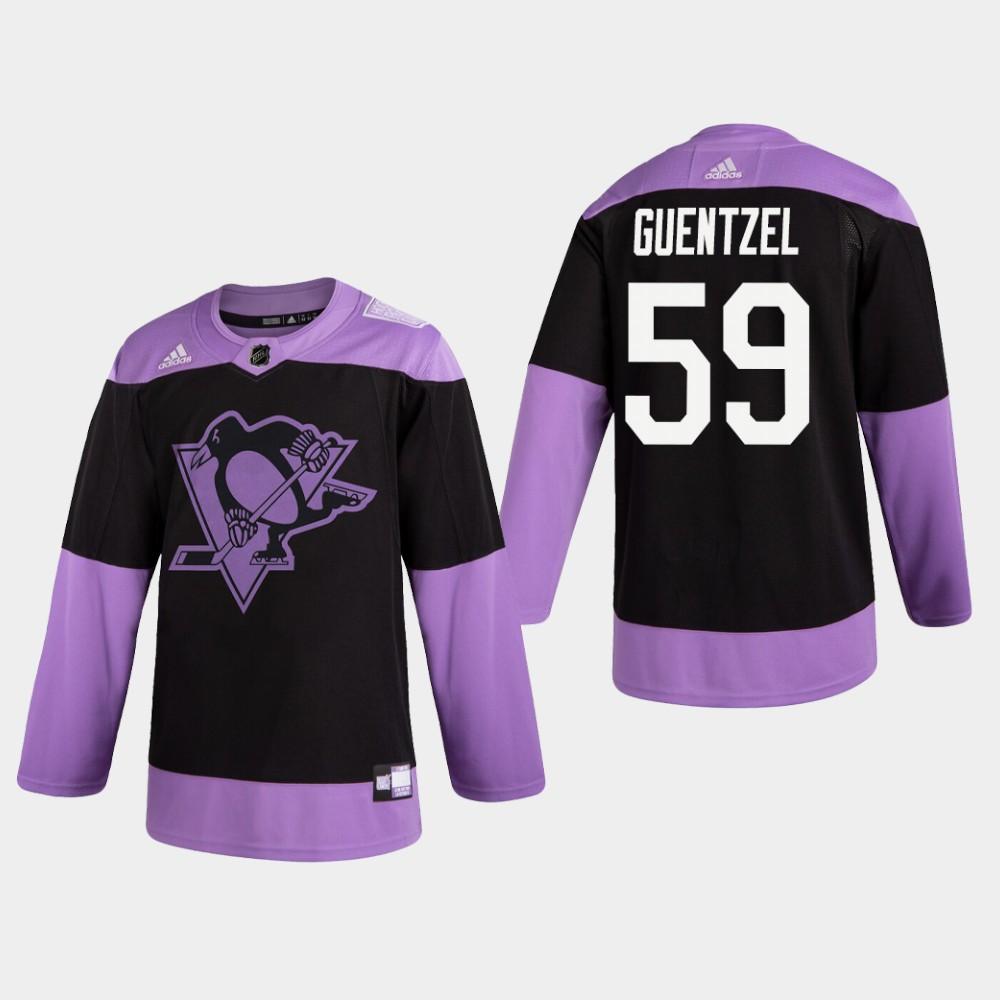 Penguins #59 Jake Guentzel Fights Cancer Practice Black Jersey
