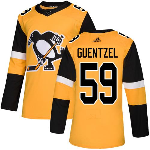 Penguins #59 Jake Guentzel Gold Alternate Authentic Stitched Hockey Jersey