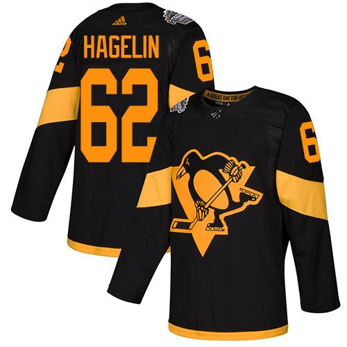 Penguins #62 Carl Hagelin Black Authentic 2019 Stadium Series Stitched Hockey Jersey