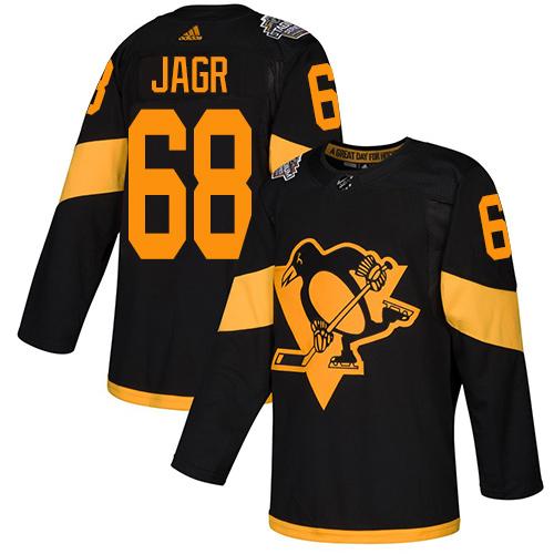 Penguins #68 Jaromir Jagr Black Authentic 2019 Stadium Series Stitched Hockey Jersey