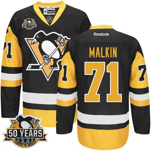 Penguins #71 Evgeni Malkin Black Alternate 50th Anniversary Stitched Youth NHL Jersey
