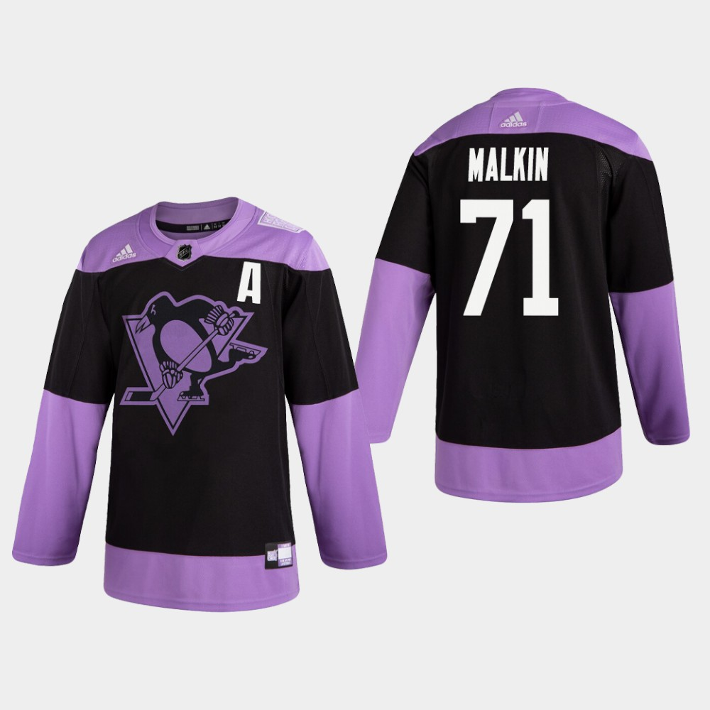 Penguins #71 Evgeni Malkin Hockey Fights Cancer Practice Black Jersey