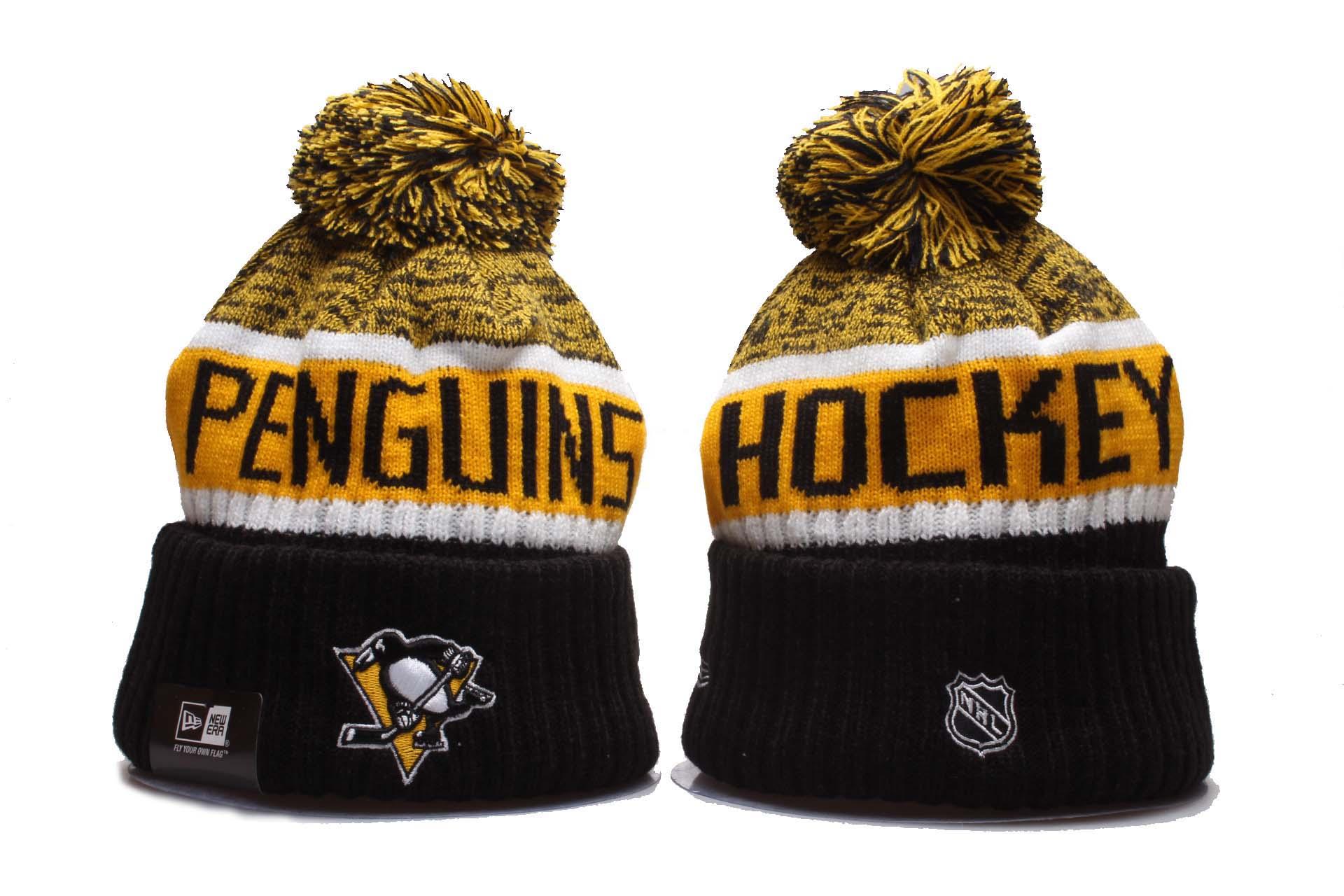 Penguins Team Logo Yellow Black Pom Knit Hat YP