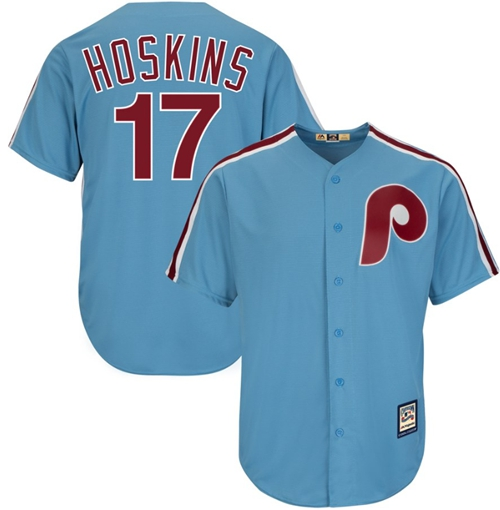Phillies #17 Rhys Hoskins Light Blue New Cool Base Cooperstown Stitched Baseball Jersey
