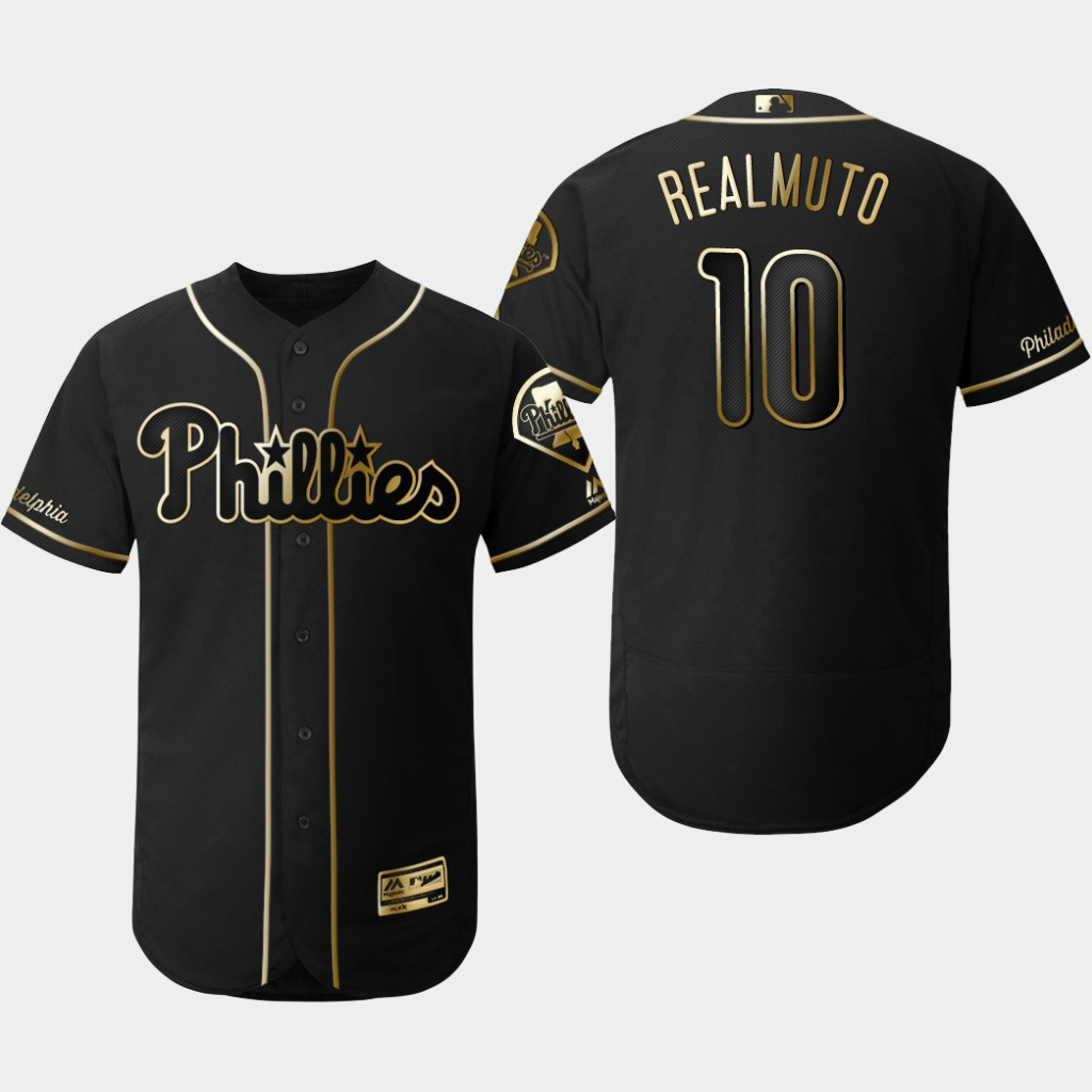 Phillies 10 J.T. Realmuto Black Gold Flexbase Jersey