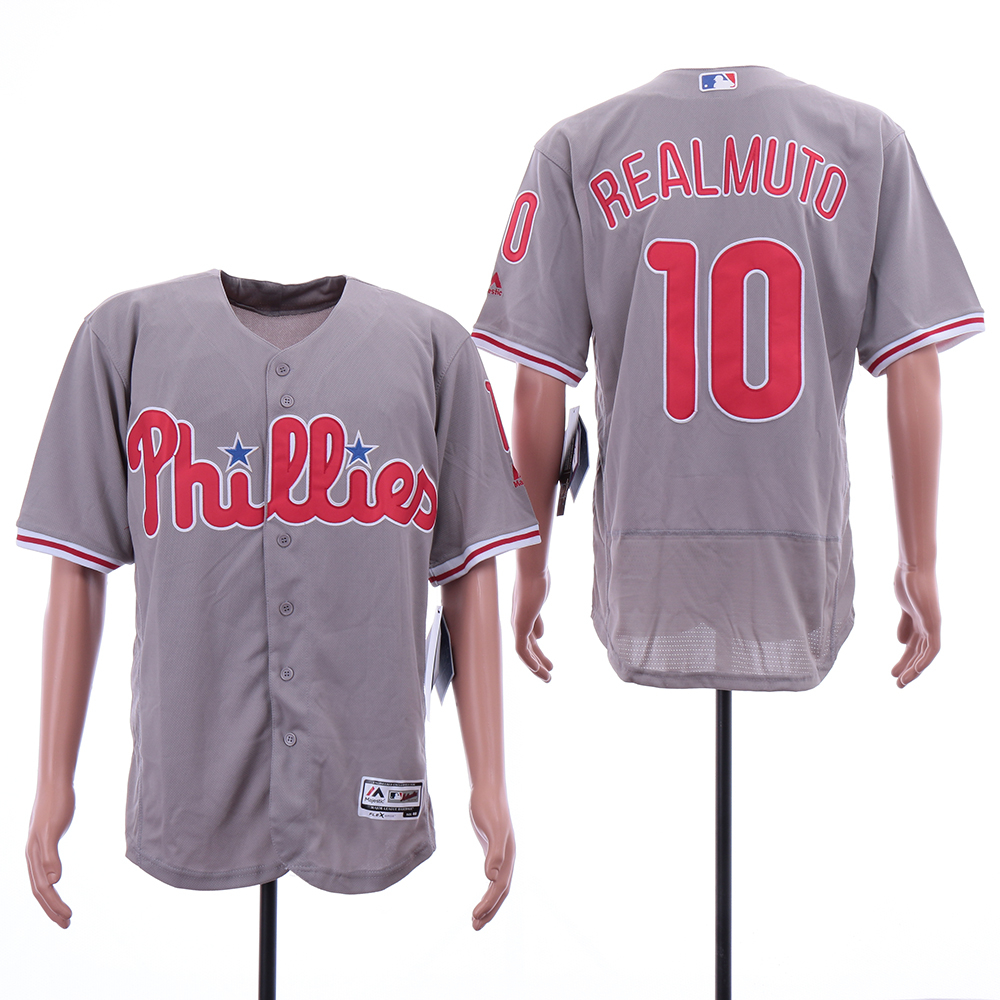 Phillies 10 J.T. Realmuto Gray Flexbase Jersey