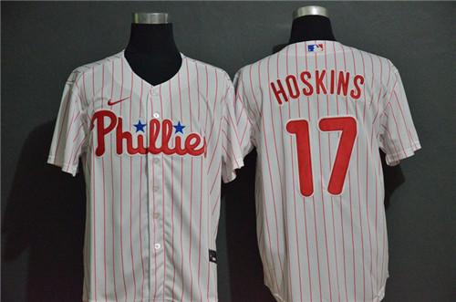 Phillies 17 Rhys Hoskins White 2020 Nike Cool Base Jersey