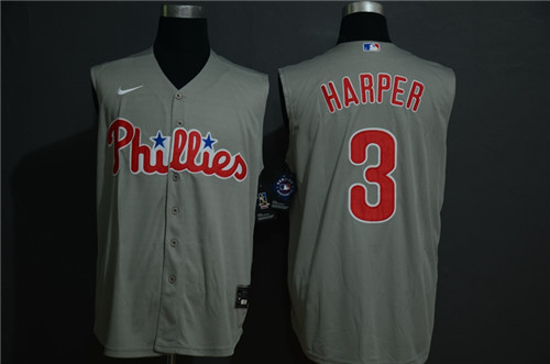 Phillies 3 Bryce Harper Gray Gold Nike Cool Base Sleeveless Jersey