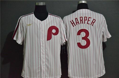 Phillies 3 Bryce Harper White 2020 Nike Throwback Cool Base Jersey