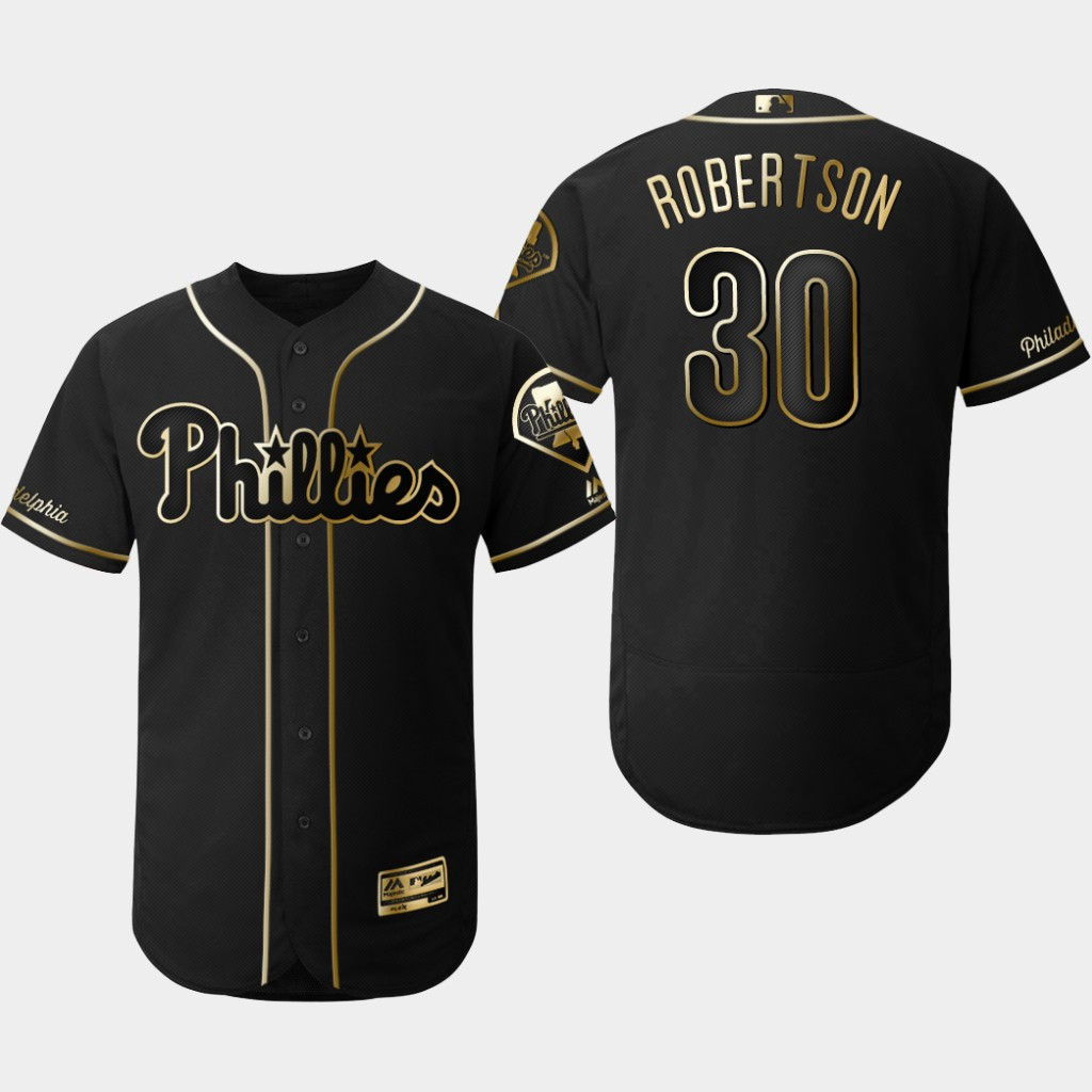 Phillies 30 David Robertson Black Gold Flexbase Jersey