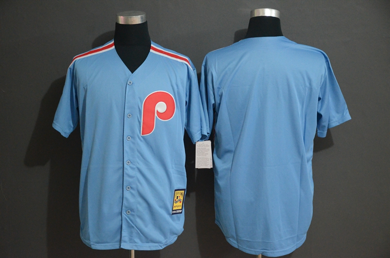 Phillies Blank Light Blue Cool Base Cooperstown Jersey