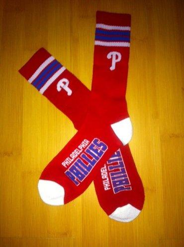 Phillies Team Logo Red Blue MLB Socks