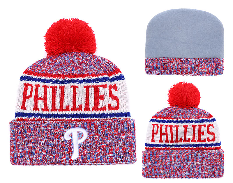 Phillies Team Logo Red Pom Knit Hat YD