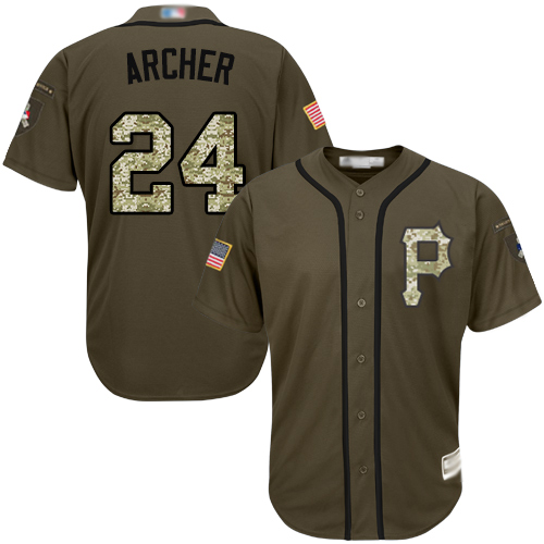 Pirates #24 Chris Archer Green Salute to Service Stitched Baseball Jersey
