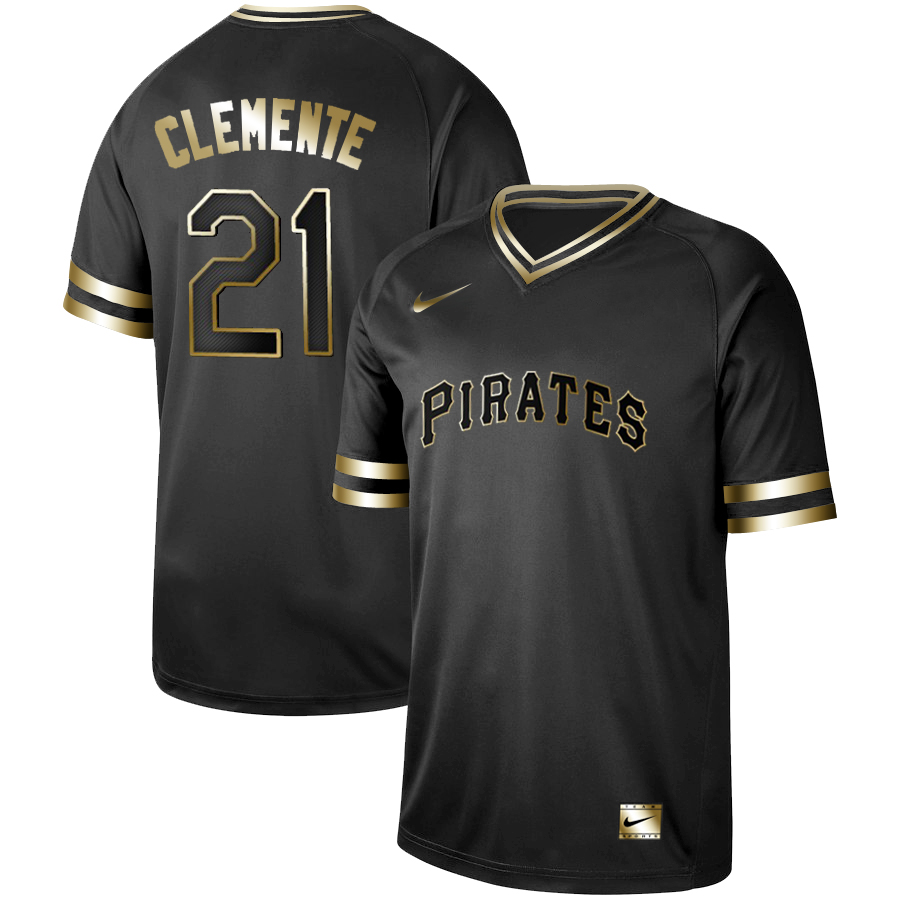 Pirates 21 Roberto Clemente Black Gold Nike Cooperstown Collection Legend V Neck Jersey
