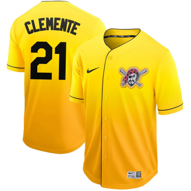 Pirates 21 Roberto Clemente Yellow Drift Fashion Jersey