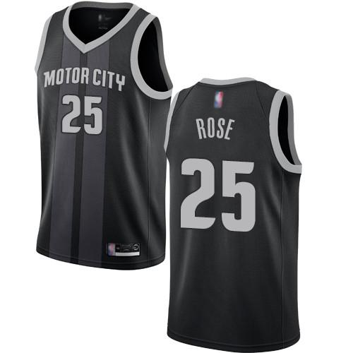Pistons #25 Derrick Rose Black Basketball Swingman City Edition 2018 19 Jersey