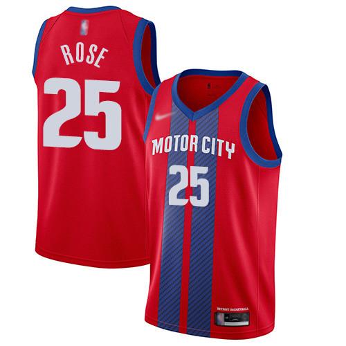 Pistons #25 Derrick Rose Red Basketball Swingman City Edition 2019 20 Jersey