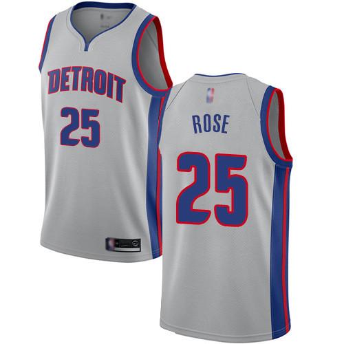 Pistons #25 Derrick Rose Silver Basketball Swingman Statement Edition Jersey