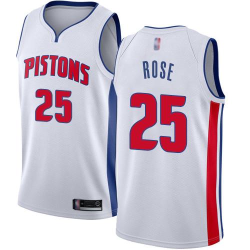 Pistons #25 Derrick Rose White Basketball Swingman Association Edition Jersey
