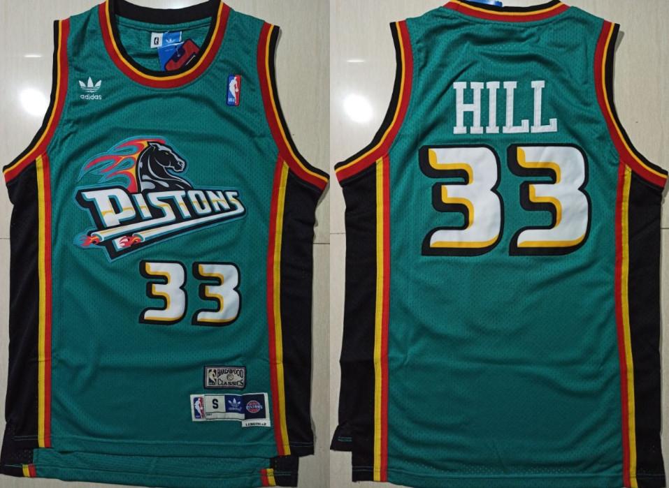 Pistons 33 Grant Hill Green Hardwood Classics Jersey