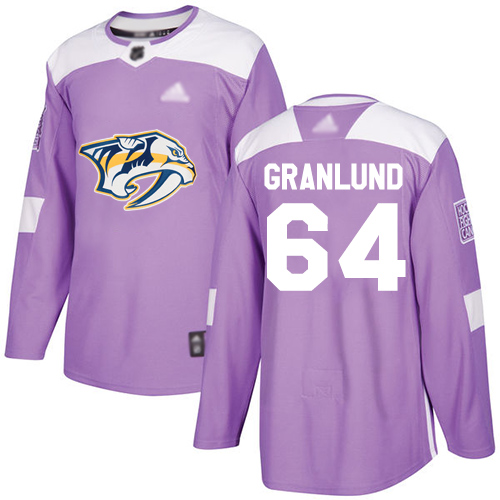 Predators #64 Mikael Granlund Purple Authentic Fights Cancer Stitched Hockey Jersey